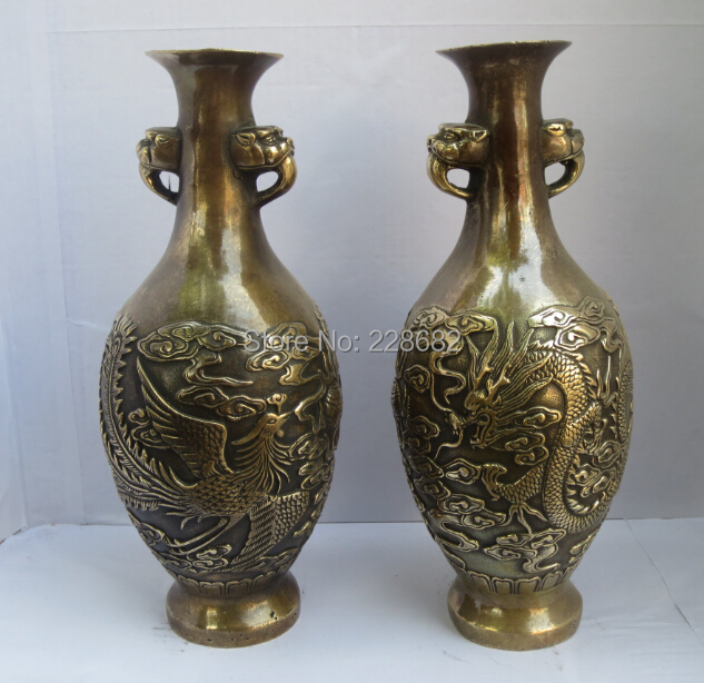 Collect Classic Chinese Vase A Pair Of Chinese Old Copper Carved