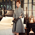 Dabuwawa two colors high waist v neck woolen dress