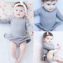 2016 Fashion Newborn Infant Kids Baby Girl Clothes Ruffles Tutu Skirt Long Sleeve Gray Bodysuit Jumpsuit Outfit