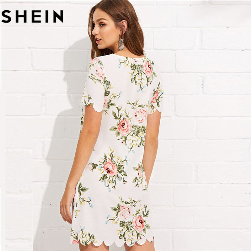 1043685833 SHEIN Summer Straight Short Sleeve Floral Print Casual Mini Dresses 2018  Women Preppy Scalloped Edge Botanical Print Short Dress-in Dresses from  Women's ...