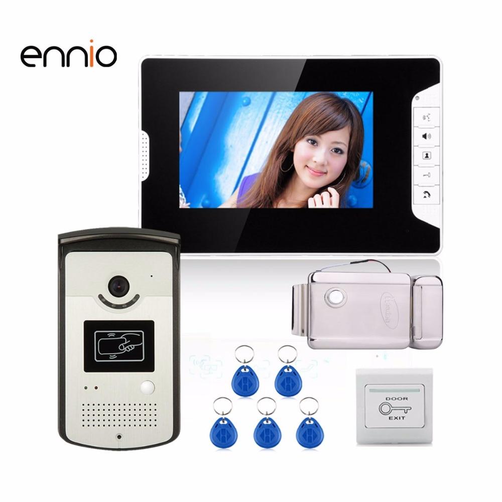 ENNIO SY813MEIDDNO11 7 Color Video Door Phone Intercom 1 Monitor 1 RFID HD Doorbell 1000TVL Camera + Electronic Door Lock