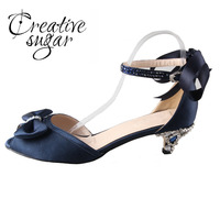 Handmade Navy Blue Satin Dress Shoes With Sewed Crystals Ribbon Med Low Heel Woman Shoes Elegant