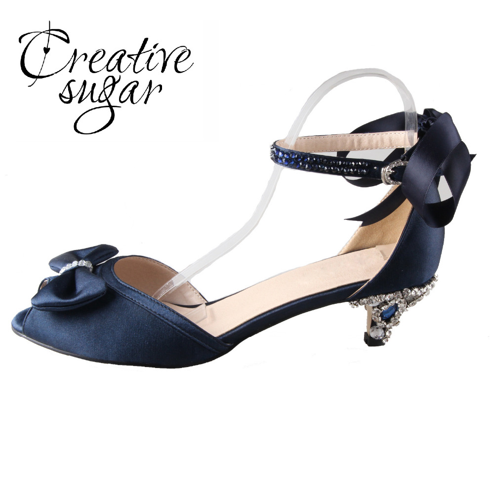 Handmade navy blue satin dress shoes with sewed crystals ribbon med low heel woman shoes elegant bridal wedding party prom pumps