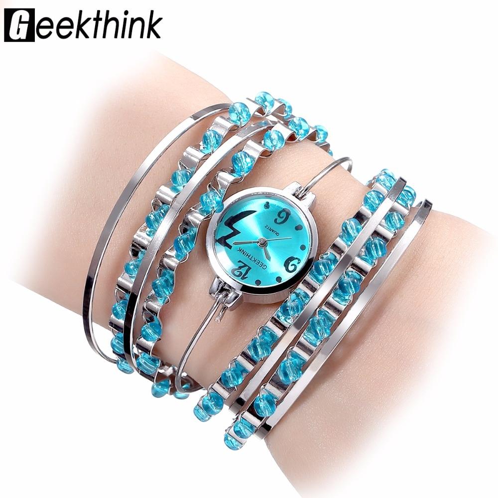 GEEKTHINK Bohēmijas stila luksusa zīmola kvarca pulkstenis Sieviešu rokassprādze Sieviešu ikdienas kleita Tērauda lente Pulksteņa sieviešu meitenes, kas ir jauni