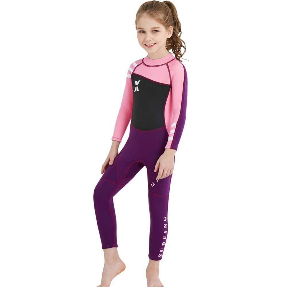 2.5mm tek parça çocuk dalgıç kıyafeti sörf Wetsuits çocuk neopren termal mayo mayo dalış yüzme sörf