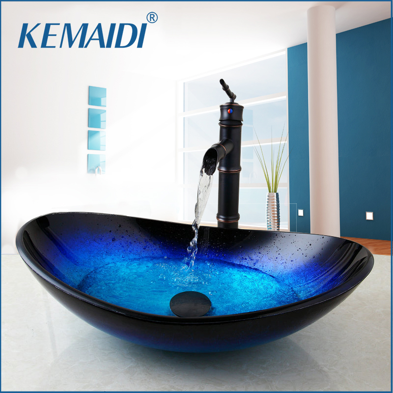 KEMAIDI New Waterfall Spout Basin Black Tap Bathroom Sink Washbasin Tempered Glass Hand Painted Bath Brass