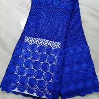 5Yards/pc Beautiful royal blue african water soluble lace leaves style embroidery french mesh guipure lace for dressing BW55 8