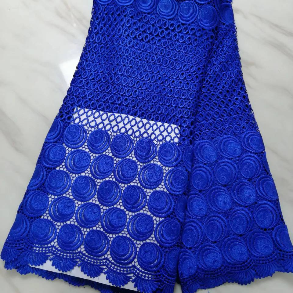 5Yards/pc Beautiful royal blue african water soluble lace leaves style embroidery french mesh guipure lace for dressing BW55-85Yards/pc Beautiful royal blue african water soluble lace leaves style embroidery french mesh guipure lace for dressing BW55-8