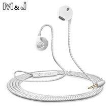 M & j fone de ouvido para iphone, fone de ouvido estéreo, com fio, alta qualidade, para iphone, com microfone, auriculares, para apple, xiaomi, sony buds