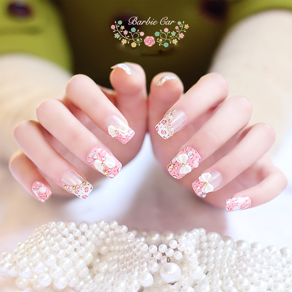Full color nail art - Fashion Pink Leopard Stripe Fake Nails With Bowknot Multiple Color Square Full Nail Tips Decoration Press