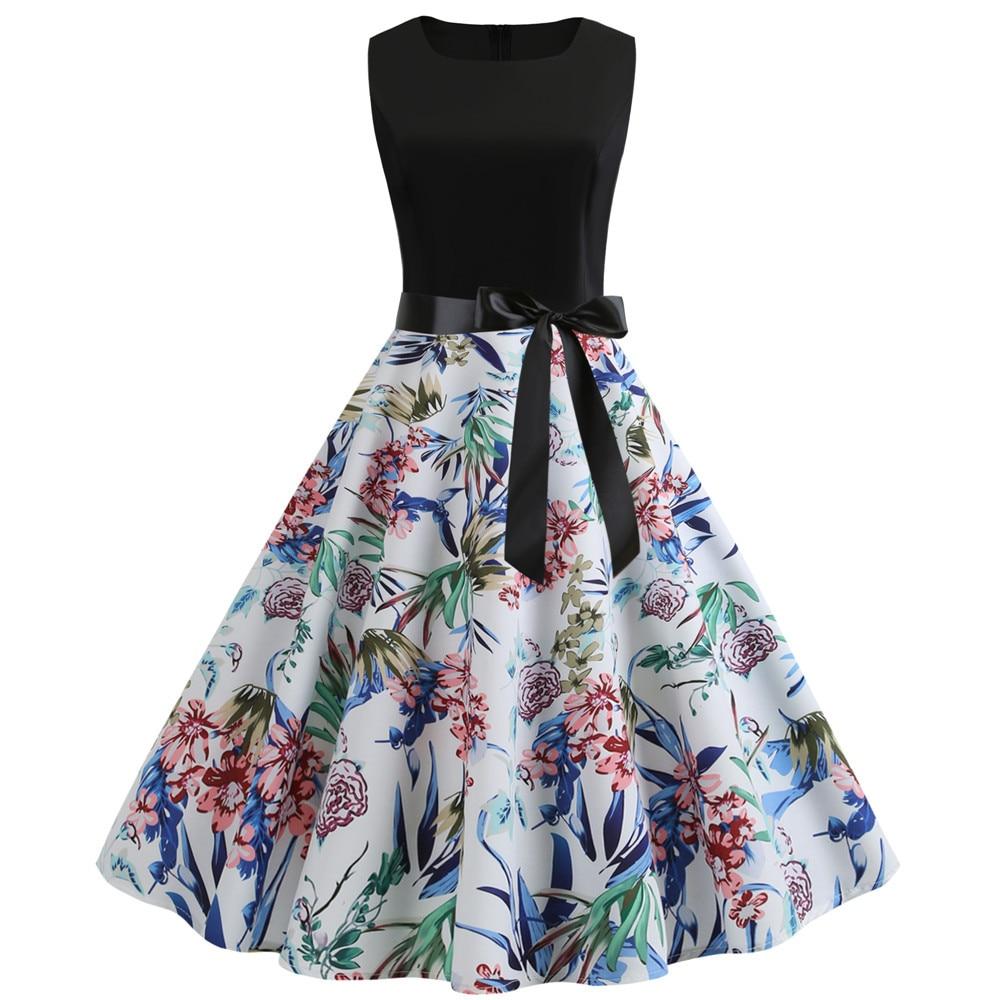 HTB1C8U8bh rK1RkHFqDq6yJAFXa9 Women Summer Dresses 2019 Robe Vintage 1950s 60s Pin Up Big Swing Party Work Wear Rockabilly Dress Black Polka Dot Vestidos