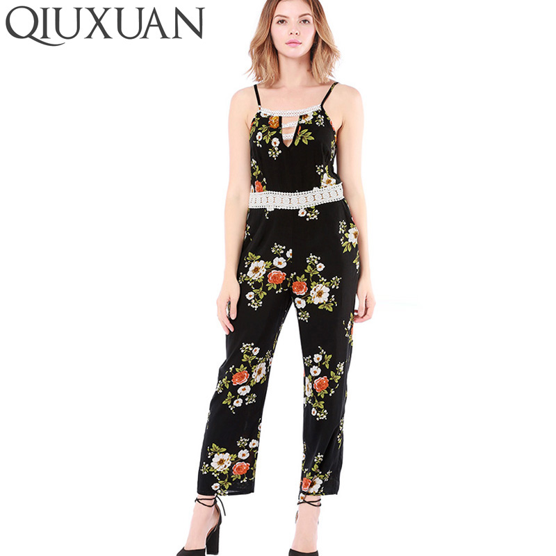 QIUXUAN Summer Women Rompers Jumpsuit Sunflower Floral Printed Strapless Patchwork Trousers Hollow Out Playsuits Bodysuit