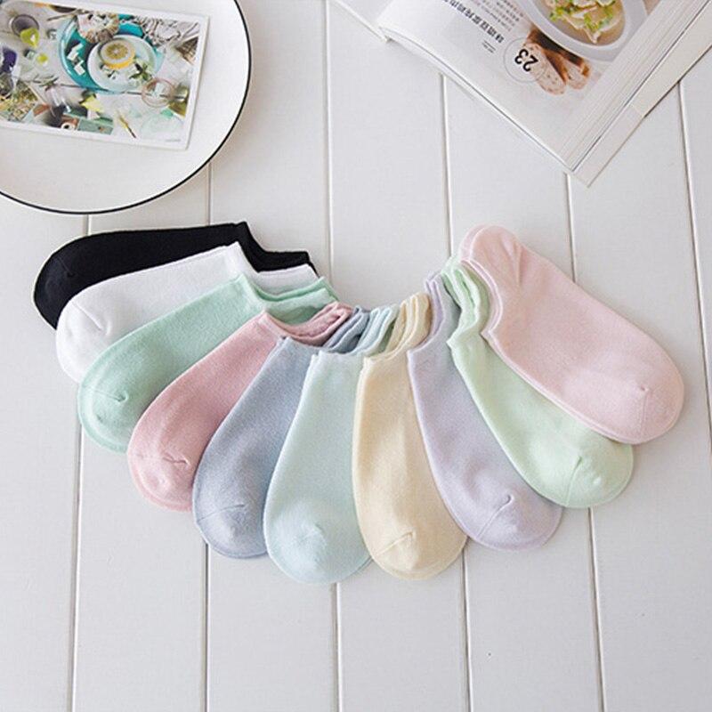 Женские хлопковые носки Cnady, однотонные невидимые носки, 5 пар/Лот, весенне-летние удобные носки