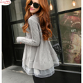 A-Line Long Lace Splicing Argyle Large Size Sweater Jumper Long Sleeve Casual Knitted Woolly Pullover