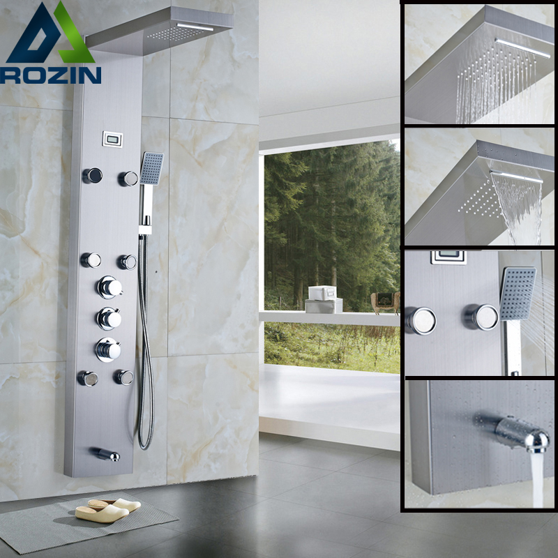 Stainless Steel Thermostatic Rainfall Shower Panel Rain Massage System Faucet with Jets Hand Shower Brushed