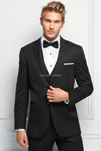 2016 Fashion Men Suits Black Groomsmen Wedding Suits Slim Fit Groom Tuxedos For Men Prom Tuxedos (Jacket+Pants+Vest+Bow)