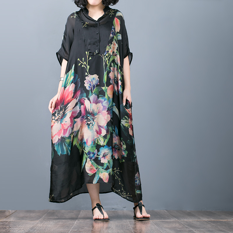 Women Retro Floral Print Dress bat Sleeve Stand Collar Dresses Plus Size Dress Female Loose Dress