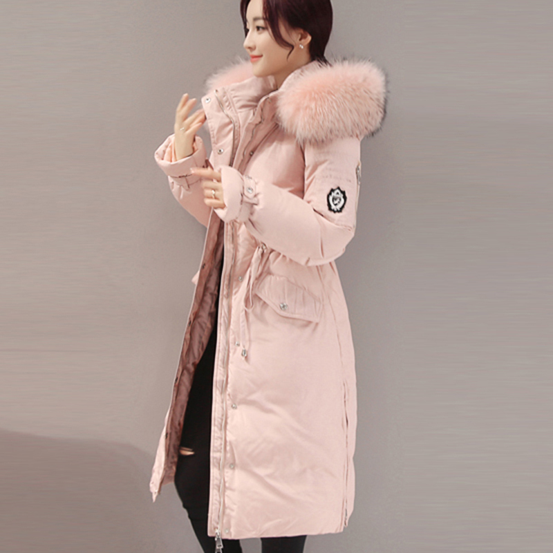 Coat   Women   Down   Jacket 2017 Winter Women long white duck   Down   Parka Raccoon fur collar   down     coat   Jackets Adjustable Waist QH0990