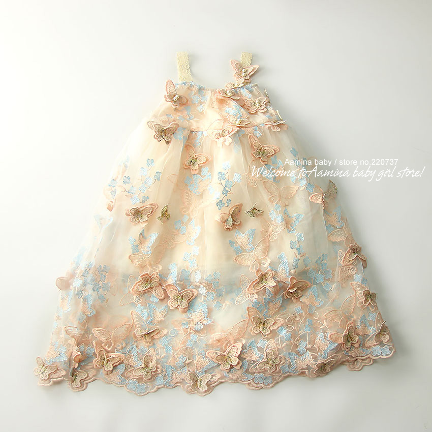 Catch Eyes! 3D Butterfly Embroidery Pearls Baby Girls Dress, Toddler Summer Princess Party Wedding Kids dresses for girls 1 10 Y-in Dresses from Mother & Kids    2
