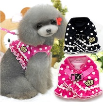NEW 2015 All Season Various Ruffle Crown Dog Pet Cat Harness Cute Carton Dots Striped +Leashes 2 in 1  S M L XL