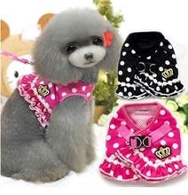 купить NEW 2015 All Season Various Ruffle Crown Dog Pet Cat Harness Cute Carton Dots Striped Dog Pet Harness +Leashes 2 in 1  S M L XL по цене 453.96 рублей