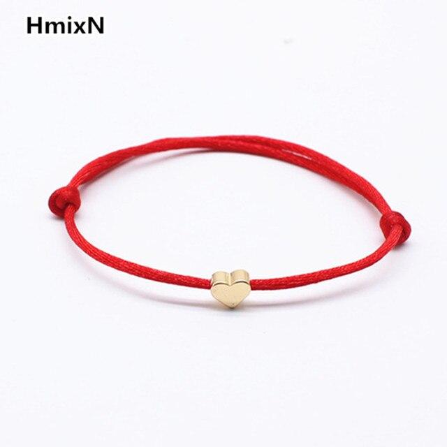 2018 Lucky Golden Cross Heart Bracelet For Women Children Red String Adjule Handmade Diy Jewelry