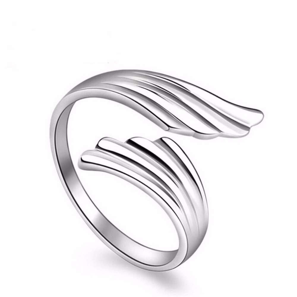 Lovely Jewelry Silver Opening Ring Angel Wing Fash...