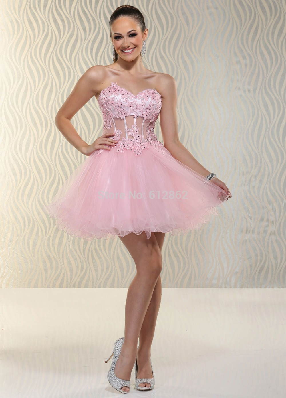 Aliexpress Com Buy Strapless Pink Short Lace Organza