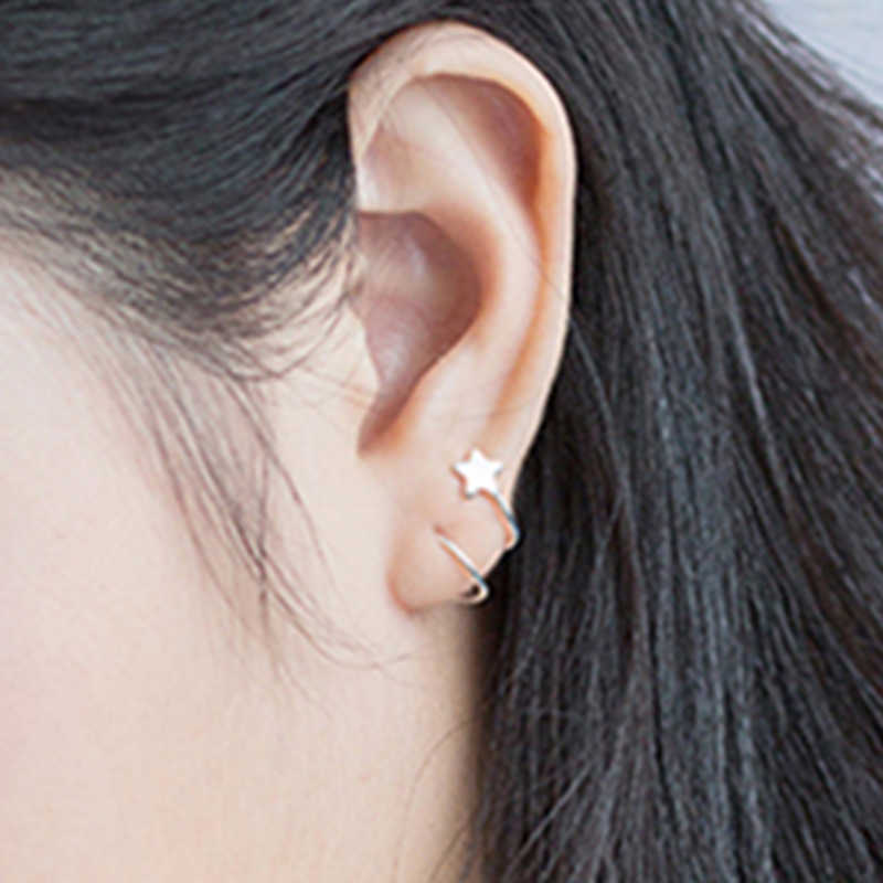 2018 New Women's Fashion 100% 925 Sterling Silver Stud Earrings Fashion Spiral Tiny Cute Star Stud Earrings Girls Gift