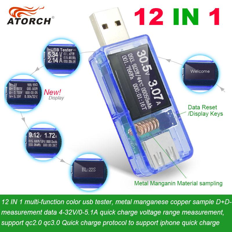 ATORCH 12 в 1 USB Тестер dc Цифровой вольтметр amperimetro напряжение измеритель тока Амперметр детектор запасные аккумуляторы для телефонов зарядное у...