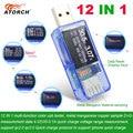 ATORCH 12 en 1 probador USB dc voltímetro digital amperimetro voltaje corriente medidor amperímetro detector banco de energía Indicador de cargador
