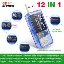 ATORCH 12 in 1 USB tester DC Digital voltmeter amperimetro voltagecurrent meter ammeter detector power bank charger indicator cheap Digital Only A-TH-USB 1 (Software calibration technique) 65*24*14mm Electrical -10-60Degrees USB DC Power Transparent or Blue Color Optional