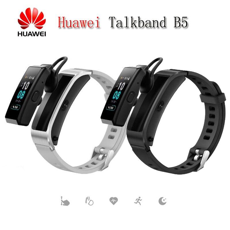 Più nuovo Huawei TalkBand B5 Parlare di Banda del Bluetooth Braccialetto Intelligente Wearable Sport Braccialetti Touch AMOLED Schermo di Chiamata Auricolare Della Fascia