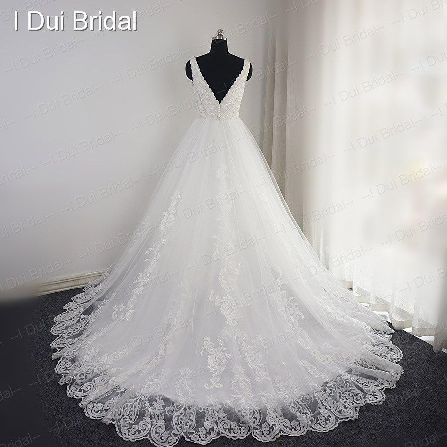 V Neck Lace Beaded Wedding Dress Big A Line Empire High Quality ...