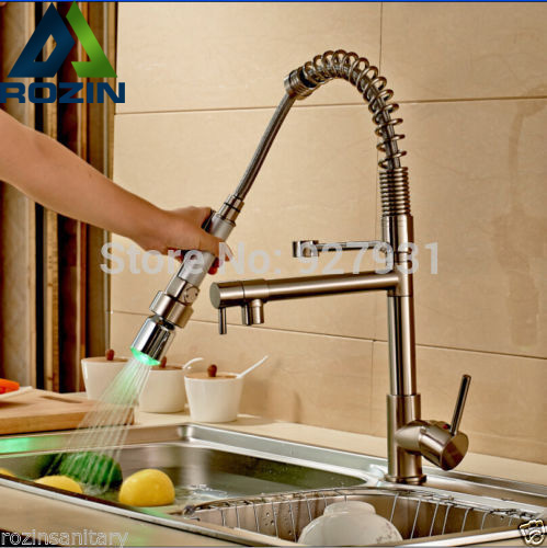 Nickel Brushed LED Pull Down Kitchen Faucet Deck Mounted Double Spout Hot and Cold Water Kitchen
