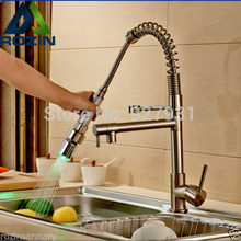 Nickel Brushed LED Pull Down Kitchen Faucet Deck Mounted Double Spout Hot and Cold Water Kitchen Mixer Taps