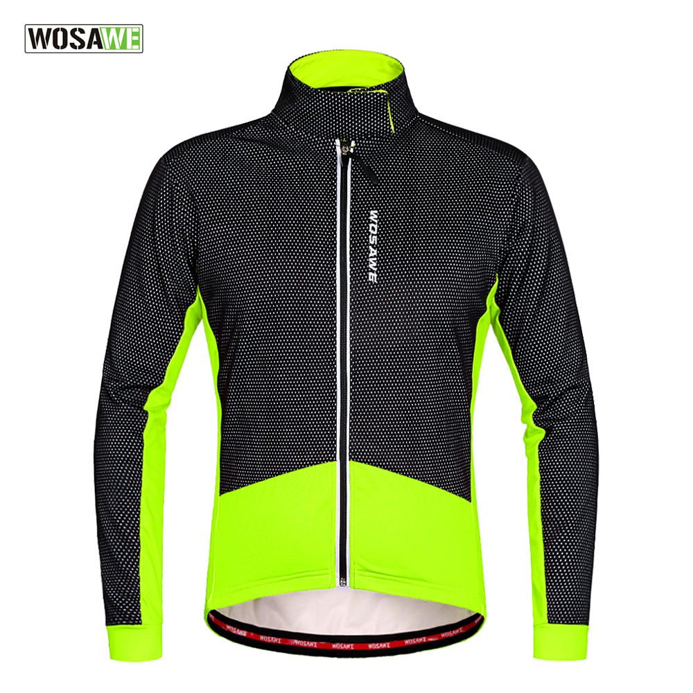 WOSAWE Winter Cycling Jackets Thermal Fleece Windproof Long Sleeve Cycling Jersey Clothing Wear Reflective Clothes