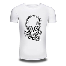 DY 87 European Style Simple Design Skull Print Mens T shirts Trendy Fashion Casual Tee shirts