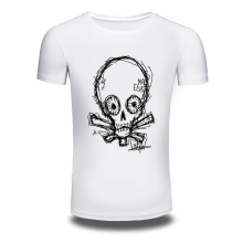 DY-87 European Style Simple Design Skull Print Mens T-shirts Trendy Fashion Casual Tee shirts White Tshirts Oversized 200g