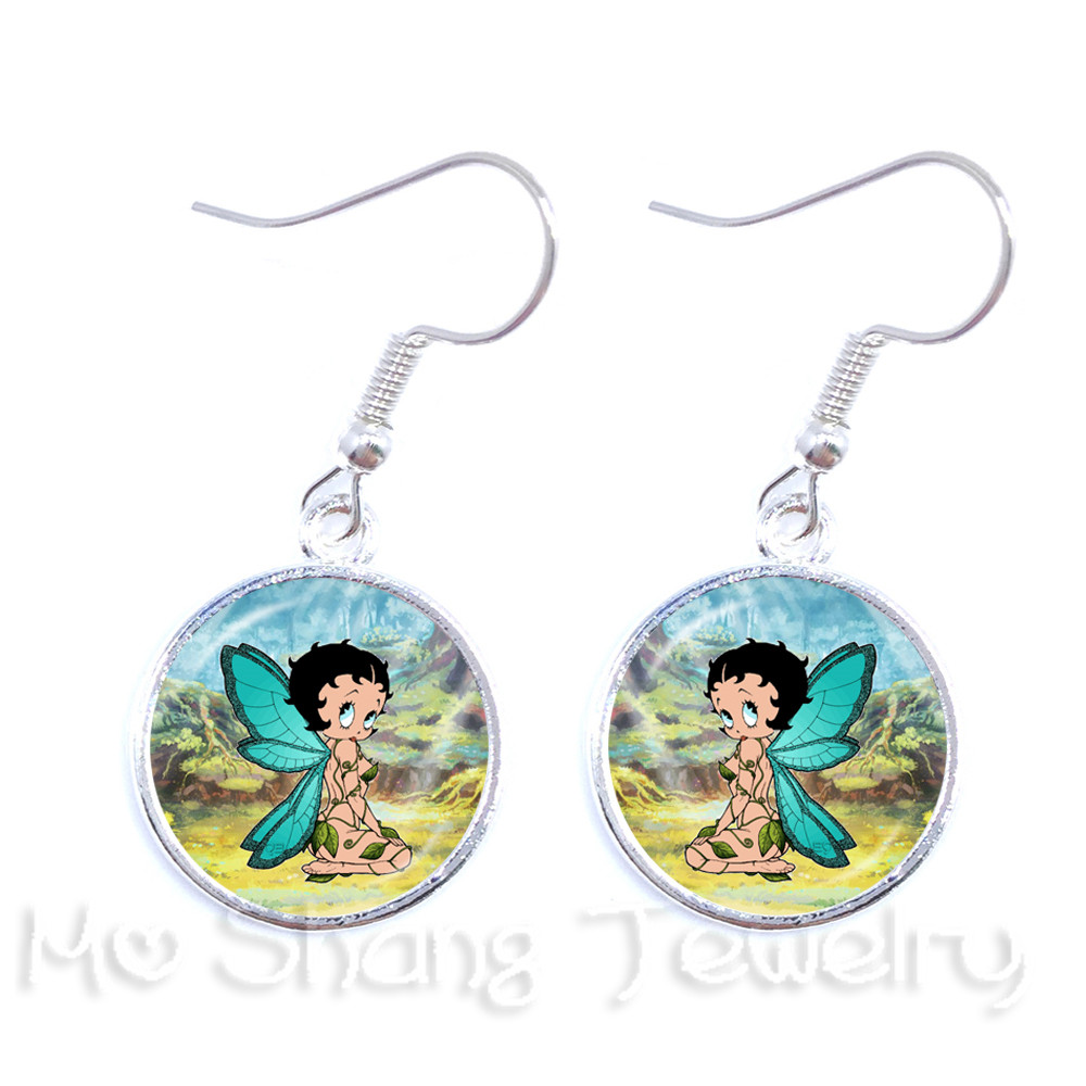 Betty Boop and Sweetheart Face Betty Boop Charm Metal Keychain with Red Heart