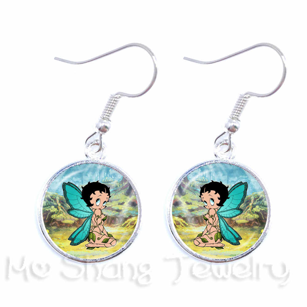 The Betty Boop With Wings Glass Drop Earrings Women Jewelry Sexy Betty Boop Earrings Jewellery Accessories Christmas Gift Wholes