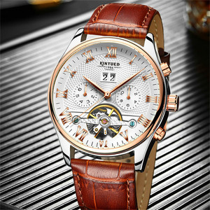 Image 3 - KINYUED 2019 Skeleton Tourbillon Mechanical Watch Automatic Men Classic Rose Gold Leather Mechanical Wrist Watches Reloj Hombre