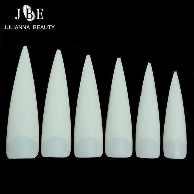 500Pcs/Bag ABS Artificial Half Cover Oval Point Nail Tips Natural  Color Acrylic French Type Long False Stiletto False Nails Tip