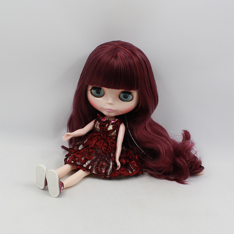 Blyth Nude Doll For Series No.230bl13512532 Bang Purple Mix Red Hair Suitable For Diy Change Toy For Girls To Have Both The Quality Of Tenacity And Hardness Dolls Toys & Hobbies