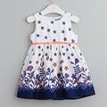 Novo estilo coreano vestido para roupa dos miúdos crianças vestidos sem mangas floral moda crianças vestido de verão