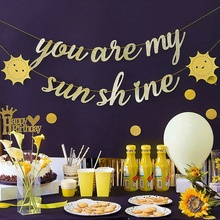 You are my sunshine Banner Gold Glitter Birthday Valentines Day Wedding Sun Bunting Decoration