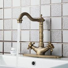 Поворотный Античная латунь двойные ручки + накладка + шланг 86325726 умывальник Кухня torneiras Cozinha Ванная комната faucetmixer коснитесь