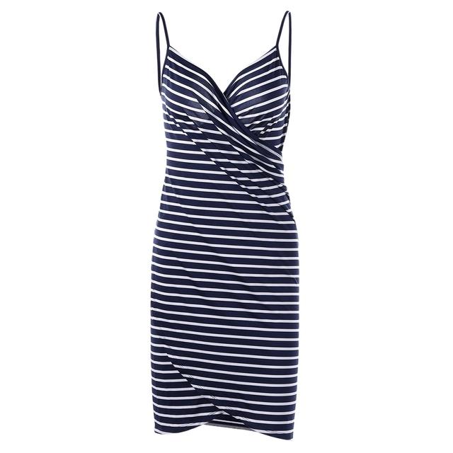 Wipalo 2019 Sexy Backless Women Summer Striped Dress V-neck Spaghetti Strap Women Knee-length Cover ups Beach Dresses vestidos