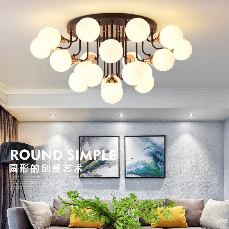ポストモダン LED シャンデリア天井鉄ガラスボールライトリビングルーム天井ランプ北欧器具の寝室の照明  グループ上の ライト & 照明 からの シーリングライト の中 1