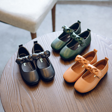 Новые Весна корейских детей девочек кожаные туфли принцессы для девочек-подростков Детские квадратными носами бантом тонкие туфли 21
